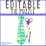 EDITABLE Tie Puzzle - Great for Father's Day Activity! Cre
