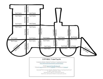 EDITABLE Train Activities: Make your own Polar Express Day Puzzles for ANY Topic