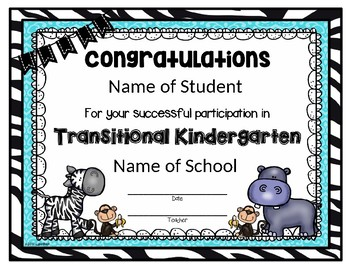 EDITABLE Transitional Kindergarten Completion/Participation Certificate