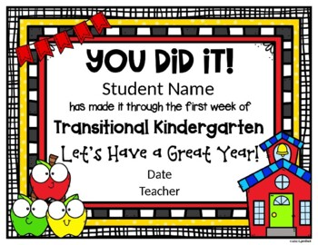 EDITABLE - Transitional Kindergarten First Week Certificate
