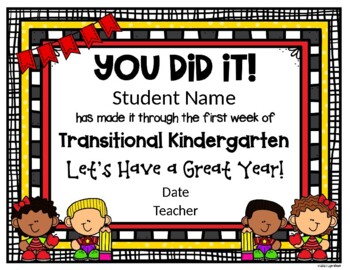EDITABLE - Transitional Kindergarten First Week Certificate