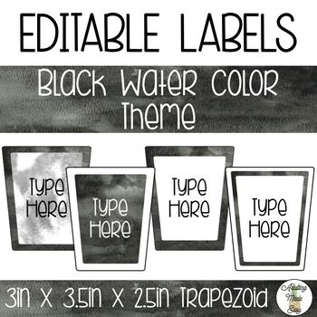 EDITABLE Trapezoid Labels - Black Watercolor Theme