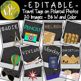 EDITABLE Travel Tags, Labels on Polaroids - 20 Different I