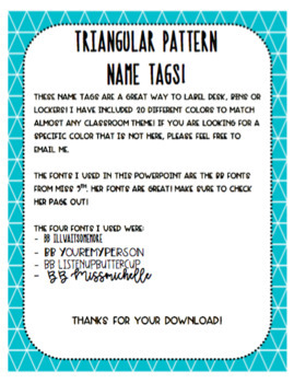 EDITABLE Triangular Pattern Name Tags