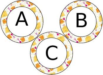 EDITABLE Tropical Beach themed circular bulletin board letters