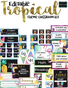 EDITABLE Tropical Classroom Theme Kit