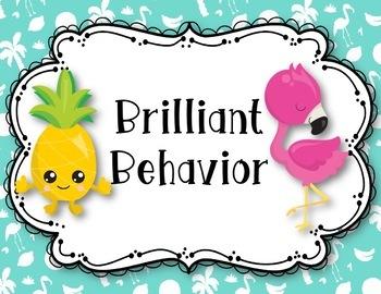 EDITABLE Tropical Flamingos & Pineapple Behavior Clip Chart