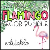 EDITABLE Flamingo & Tropical Greenery Classroom Decor Pack