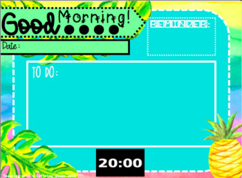 EDITABLE Tropical Morning Message PowerPoint Template with Timers
