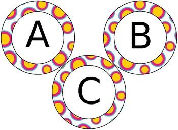 EDITABLE Tropical Pineapple themed circular bulletin board letters