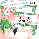 EDITABLE Tropical Student Name Tags - Desk Nametags for Back to School