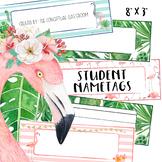 EDITABLE Tropical Student Name Tags - Desk Nametags for Ba