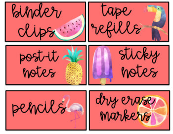 Tropical Teacher Toolbox Labels- EDITABLE
