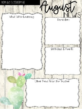 EDITABLE Tropical Themed Monthly Newsletters