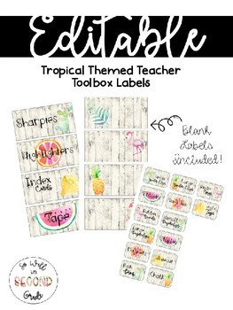 EDITABLE Tropical Themed Toolbox Labels