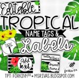 EDITABLE Tropical Nametags & Labels