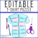 EDITABLE Tshirt Template to Make Your Own Games, Activities, or Review