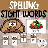 EDITABLE Turkey Sight Word Spelling Review Game November