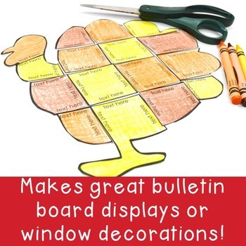 EDITABLE Turkey Thanksgiving Activities   Create Math, ELA, or Other Puzzles!