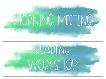 EDITABLE Turquoise Watercolor Schedule Cards