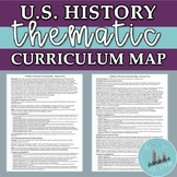 EDITABLE US History Thematic Curriculum Map with Common Core Standards!
