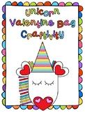 EDITABLE Unicorn Valentine Bag Craftivity