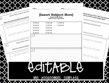 EDITABLE Unit Assessment Template