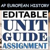 EDITABLE Unit Guide Assignment & Study Guide: AP European