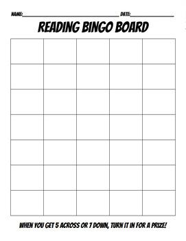 EDITABLE Upper Grade Bingo Board Reading Incentive