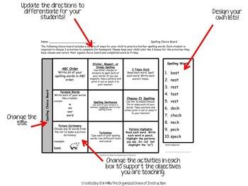 EDITABLE VERSION-2nd Grade Spelling Menus BUNDLE!!!