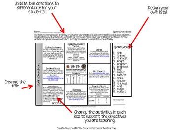 EDITABLE VERSION: 3rd Grade Spelling Choice Boards Bundle!!!