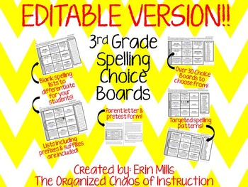 EDITABLE VERSION: 3rd Grade Spelling Choice Boards Bundle!!!