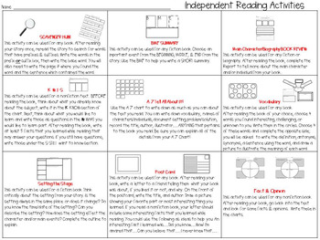 UPDATED! Independent Reading Response Menu & Activities