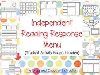 EDITABLE VERSION-Independent Reading Response Menu & ActivitieS