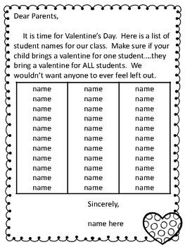 EDITABLE Valentine Bag Craftivity & Parent Note