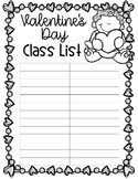 EDITABLE Valentine's Day Class List (Cupids)