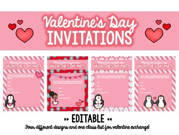 EDITABLE Valentine's Day Class Party Invitations