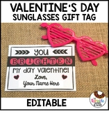 EDITABLE Valentine's Day Sunglasses Gift Tag