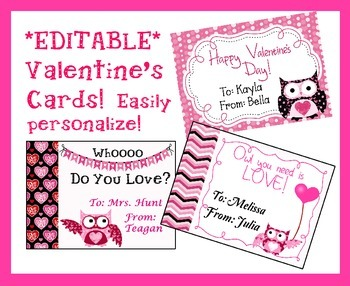 *EDITABLE* Owl Valentine's Cards for Students, Staff! EASY to Personalize