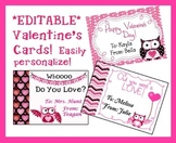 *EDITABLE* Owl Valentine's Cards for Students, Staff! EASY