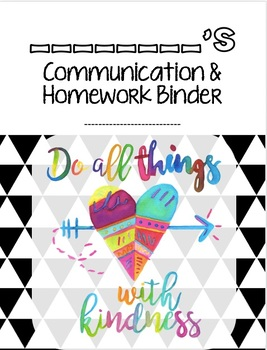"""EDITABLE & Versatile Student Binder Cover- """"Do All Things With Kindness"""""""