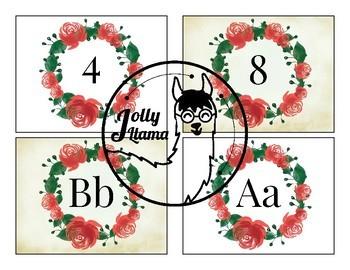 EDITABLE Vintage Rose Wreath Bulletin Board Decor Alphabet Number Calendar Label