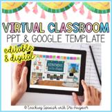 EDITABLE Virtual Spanish Classroom Template Slide - Distan