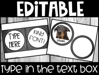 EDITABLE Visual Picture Direction Cards - Chalkboard Picture Directions