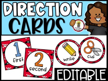 EDITABLE Visual Picture Direction Cards - Pirates Picture Directions