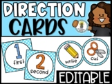 EDITABLE Visual Picture Direction Cards - Teal Polka Dots Picture Directions