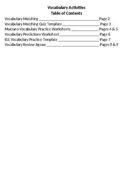 EDITABLE Vocab Activities