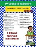 EDITABLE Vocabulary Homework Choice Menu w/ Word List