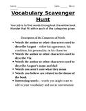 EDITABLE Vocabulary Scavenger Hunt - Wonder