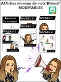 EDITABLE Voice Level Posters Bitmoji FRENCH Affiches de niveaux de voix